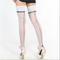 White And Black Cuban Heel Stocking 2053