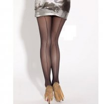 Black Seamed Cuban Heel Stocking 2129