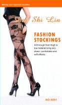 Rose Print Crotchless Pantyhose 6001