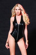 Zip-up Wet Look Bodysuit 6633