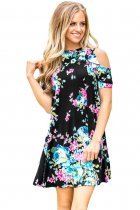 Ruffled Cold Shoulder Floral Casual Dress 3045