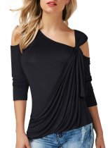 Knotted Cold Shoulder 3/4 Length Sleeve Wrap Front Plain T-Shirt 088
