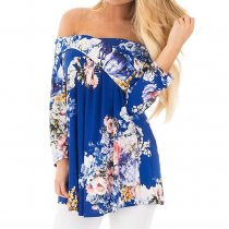 Women's Cross Front Floral Blouse Blue 6284
