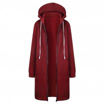 Plus Size Sweater Hoodie Jacket Wine Red 0581