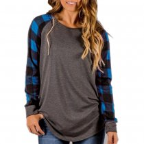 Plus Size Women Plaid Sleeve Raglan T Shirt 8612