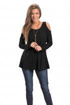 Black Long Sleeve Cold Shoulder Top 129