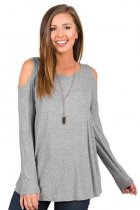 Long Sleeve Cold Shoulder Top Gray 129