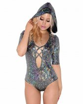 Holographic Lace Up Hood Bodysuit 002