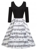 Cold Shoulder Music Notes Print Vintage Dress 18031