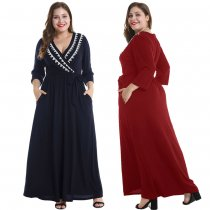 3/4 Sleeve Plus Size Maxi Dress 024