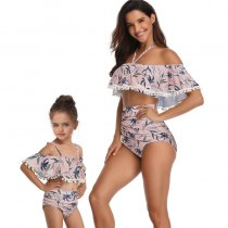 Off Shoulder Mother Daughter Swimsuit Pink 190153
