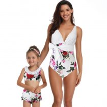 Floral Print Mother Daughter Swimwear White 190135