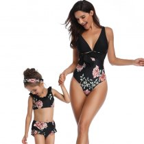 Floral Print Mother Daughter Swimwear Black 190135