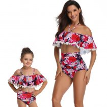 Off Shoulder Mother Daughter Swimsuit Purple 190153