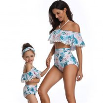 Off Shoulder Mother Daughter Swimsuit Blue 190153