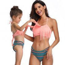 Tassel Mother Daughter Bikini Set Orange 190157