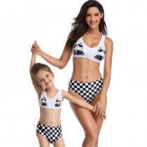 Panda Print Bikinis Swimwear For Girls Matching Mother 190181