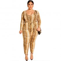 Snake Print Plus Jumpsuit With Sleeve 19219