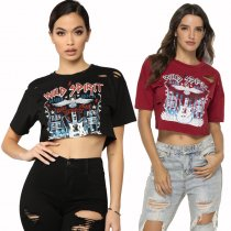 Broken Printed Cotton Crop Top Tees 19185