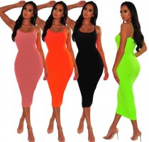 Spaghetti Strap Bodycon Long Dress 1043