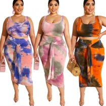 Two Piece Dye Tie Plus Size Dress 19260