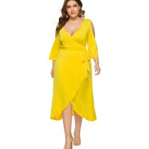 Plus Size Cold Shoulder Wrap Dress 0106
