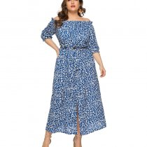Plus Size Off Shoulder Maxi Dress 0121