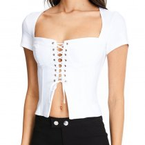 Lace Up Sexy Women Top Summer 7301J
