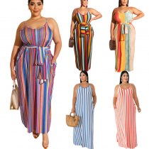 Plus Size Striped Maxi Dress 19258