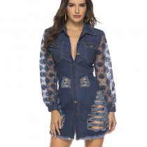 Lace Sleeve Ripped Button Down Denim Dress 19168