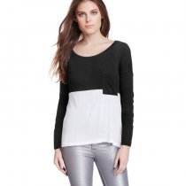 Color Block Long Sleeve T Shirt With Pocket 1842