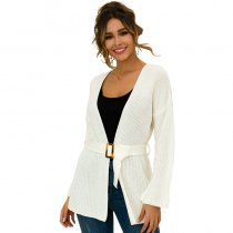 Women Cardigan Sweater With Sashes 3122