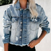 Ripped Slim Fit Denim Crop Jacket 0333