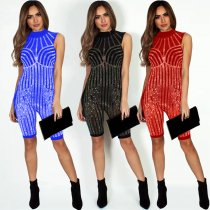 Mesh Beaded Berbuda Short Romper For Party 3313