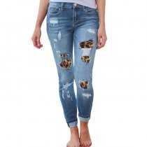 Light Blue Skinny Jeans With Leopard Patch 0321