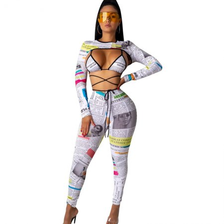 Newspaper Print Club Outfit Women 1197