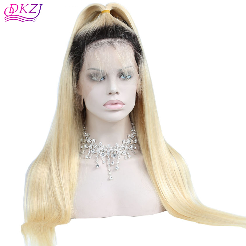 7ab24fa00e5 US  180 - QDKZJ Brazilian Silky Straight Full Lace Human Hair Wig with Baby Hair  Pre Plucked Ombre 1B 613 Blonde Lace Frontal Wigs 150% Density Remy Hair ...