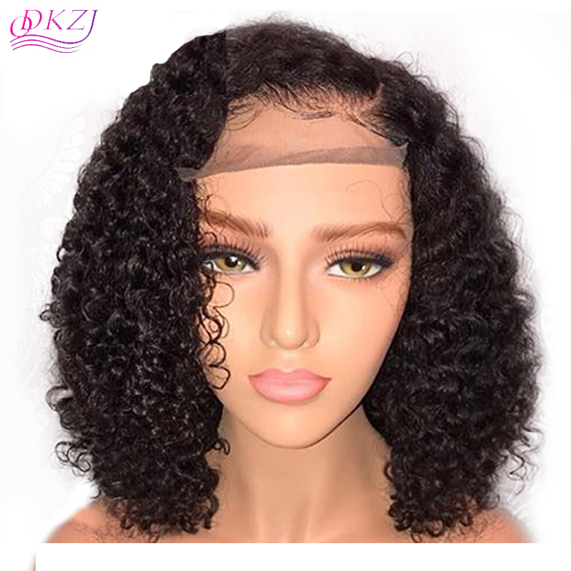 US  105 - QDKZJ Short Lace Front Human Hair Wigs Pre Plucked With Baby Hair  Curly Brazilian Virgin Hair Lace Front Bob Wigs 10 -14 - www.sevenwig.com a1dd4b514999