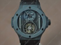 ウブロHublot Aero Band 44mm Tourbillon PVD Ceramic Bel Black Asian Handwindトゥールビヨン