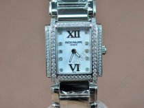 パテックフィリップPatek Philippe Ladies 24 Hours Double Diamonds SS Pearl White Swiss Quaクオーツ