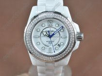 シャネルChanel J12 Full White Ceramic White Dial Asia Eta 2824-2自動巻き