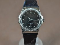 オメガOmega Watches Constellation Ladies SS/Dia/LE Black Swiss Ronda Quartzクオーツ