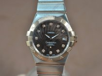 オメガOmega Constellation 37mm TT Brown dial Swiss ronda quartzクオーツ