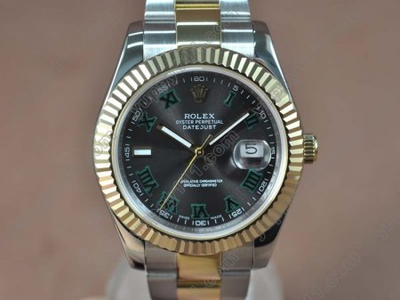 ロレックスRolex DateJust II 41mm TT Black dial Asia Eta 2836-2自動巻き