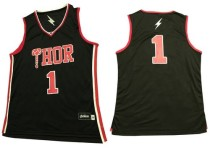 Thor #1 Black Stitched Basketball Jersey