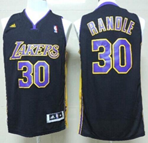 promo code c4ea9 9cf40 Revolution 30 Los Angeles Lakers #30 Julius Randle Black Purple NO  Hollywood Nights Stitched NBA Jersey