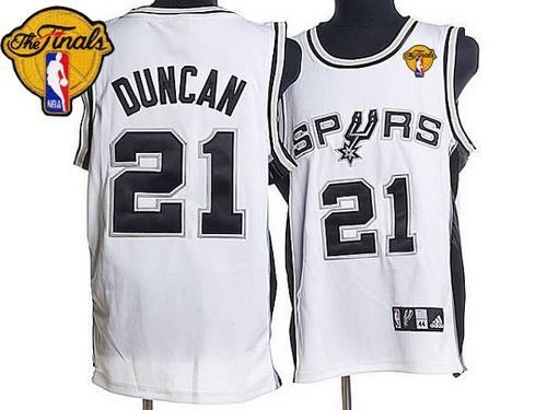 5263e0d59ff San Antonio Spurs  21 Tim Duncan Stitched White Finals Patch NBA Jersey.  Loading zoom