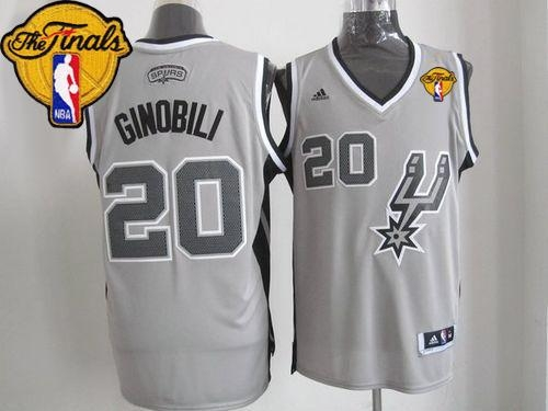 487d3b2f6868 San Antonio Spurs  20 Manu Ginobili Grey Alternate Finals Patch Stitched  NBA Jersey. Loading zoom