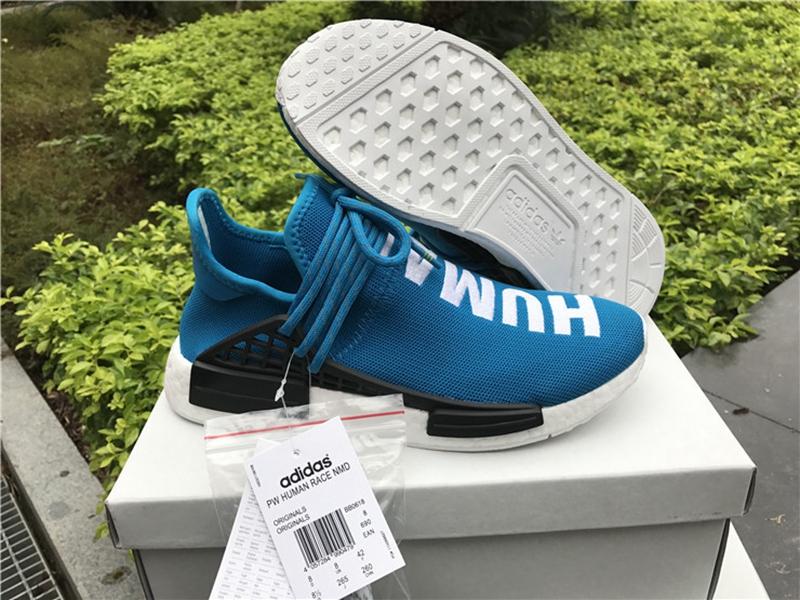detailed look e5b5f 5c71b Authentic Pharrell Williams x adidas NMD Human Race Blue
