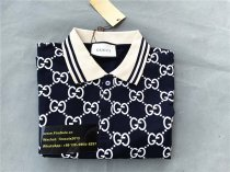 Authentic GUCCl Polo Stripe Shirt Navy Blue and White